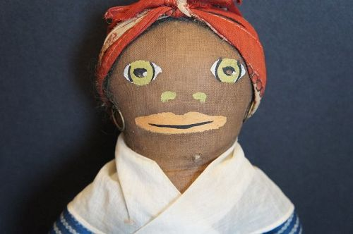 "15"" Painted face black cloth doll blue calico dress C. 1920"