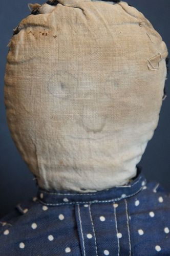 "22"" pencil face rag doll with all the right wear from years of play"