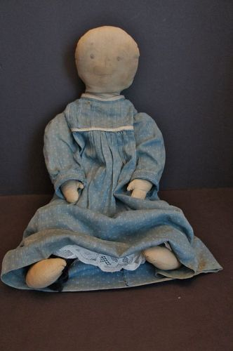 Big heavy stuffed feed sack pencil face doll 1890 real country 21""