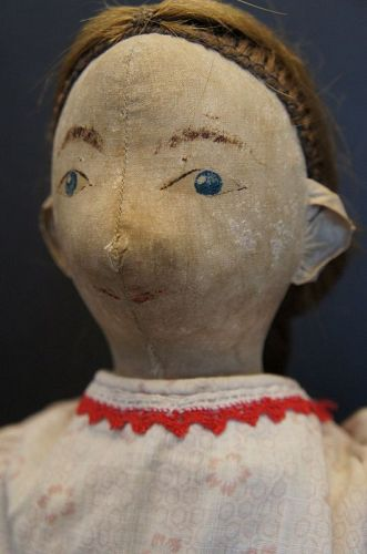 "23"" painted face antique cloth doll, a real Southern young lady"