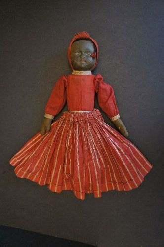 12 Bruchner topsy turvy doll with red dress antique