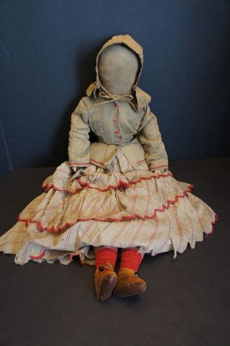 Pencil face antique cloth doll with outstanding clothes 25""