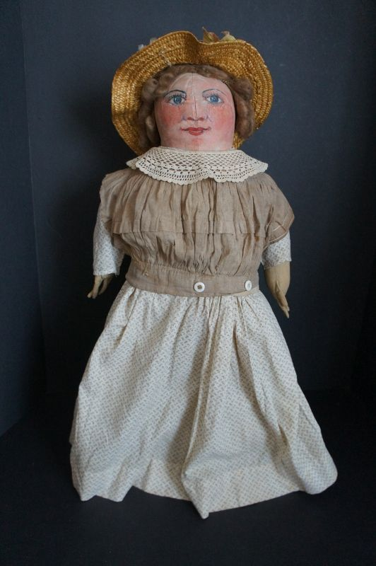 7f5938512 Painted face antique clot doll with big blue eyes, rosy cheeks 20