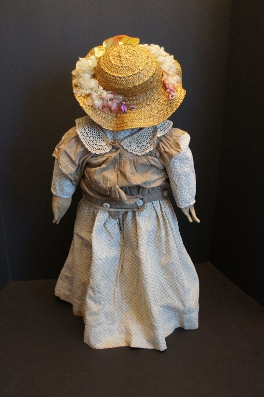 """Painted face antique clot doll with big blue eyes, rosy cheeks 20"""""""