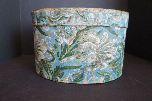"Hannah Davis blue wallpaper box 1832 paper  small 12 1/2"""