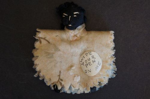 Antique black doll penwipe made with a wishbone circa 1880