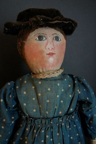 "Heart stopper, painted face doll with blue polka dot dress 22"" C. 1880"