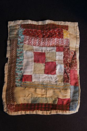 "6"" by 8"" wonderful early doll quilt paper thin all hand sewn C.1870"