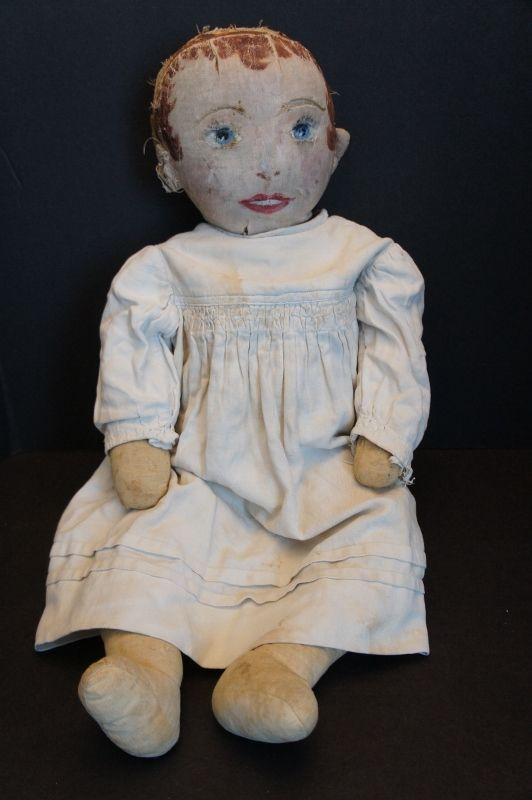 "Slightly shy big blue eyes painted face doll 25"" circa 1890"