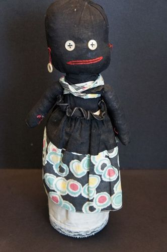 Outrageous and so folky black bottle doll 14""