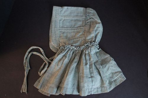 Blue check antique bonnet for larger child, all hand sewn 1880