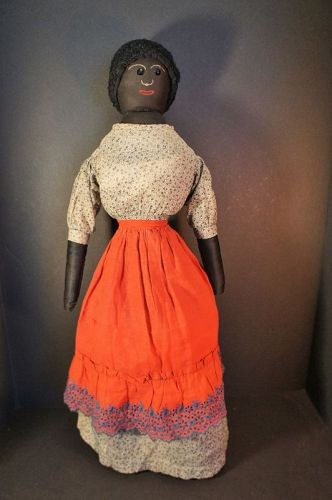 "Antique black cloth doll with jet button eyes 22"" circa 1890"