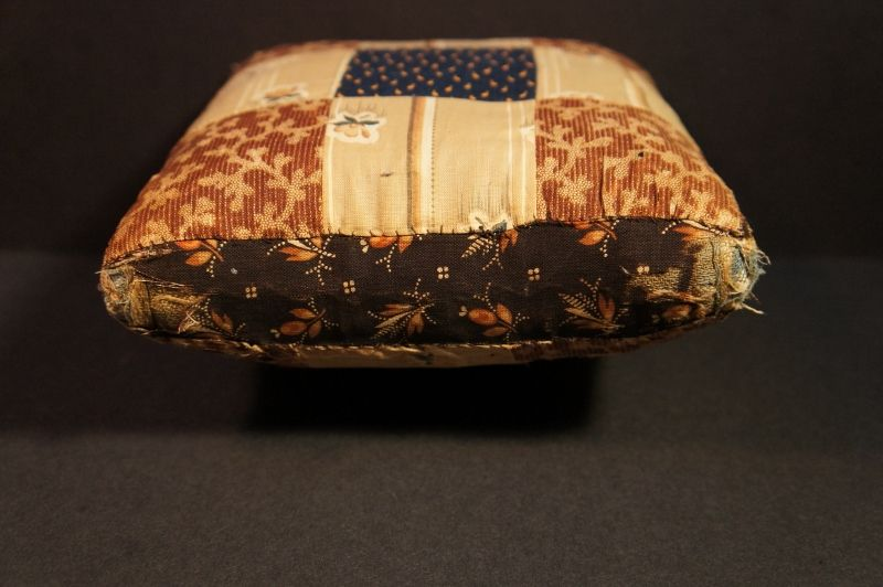 "Big heavy brown and blue antique calico pin cushion 7"" x 7"""