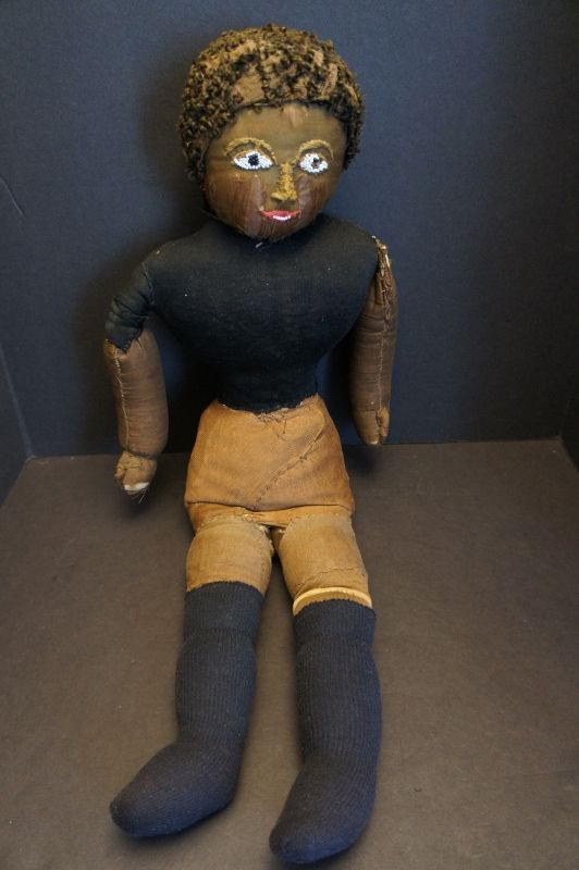 "28"" heavy antique black cloth doll with great face C1880-90"