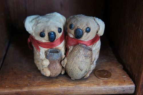 Pair of little antique velvet  Koala bears with button eyes