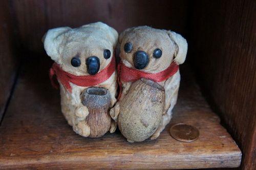 Pair of little antique velvet  Koala bears with button eyes