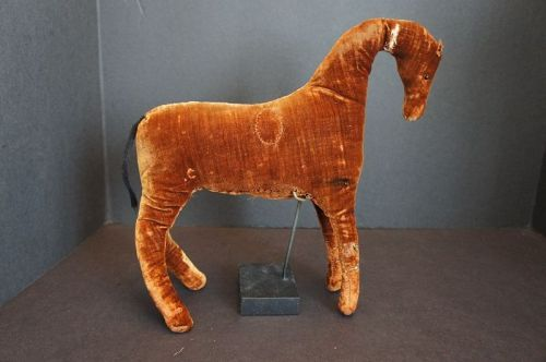"Great 11""  early antique velvet toy horse with style and beauty1870-80"