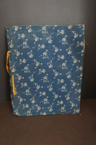 Large antique scrap book  blue calico cloth covers back 1870-1890's