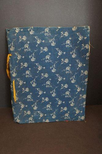 Large antique scrap book  blue calico cloth covers back 1870-1890's