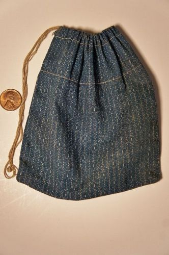 "19 th C. blue caiico ditty seed bag with orig, string  5"" by 6"""