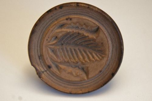 antique early butter stamp nice deep carving circa 1840