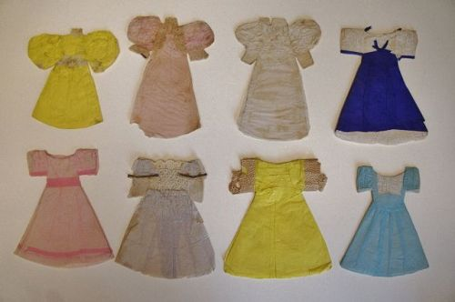 8 Paper doll dresses from the 1840's-1850's