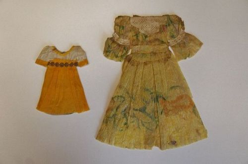 Two wonderful antique paper doll dress made with crepe paper 1840's