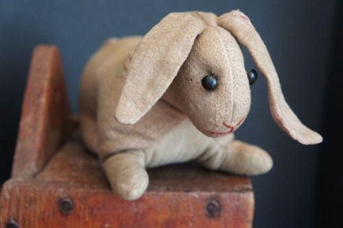19th C. toy flannel rabbit from Berks County PA. shoe button eyes