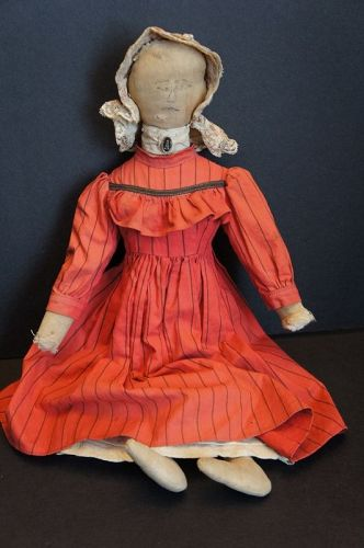 "A special ink drawn face, proud farmers daughter doll 1890  18"" tall"