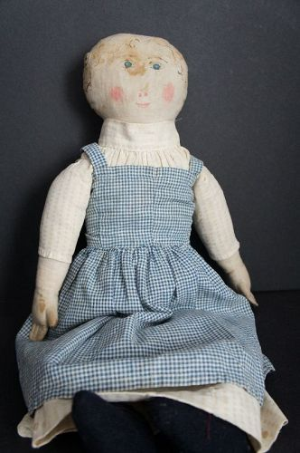 Great watercolor/ink painted face cloth doll blue eyes pink cheeks 21""