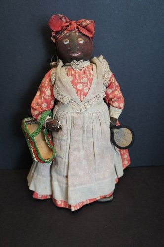 Antique black cloth doll with name and address of maker C 1890-1910
