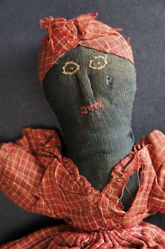 1880 topsy turvy doll with embroidered faces and raised noses  11""