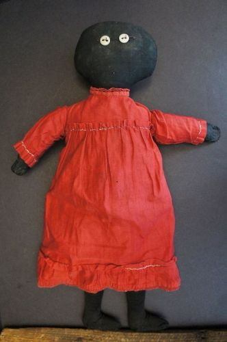 "19"" black cloth doll, her maker was a minimalist. C.1890-1900"