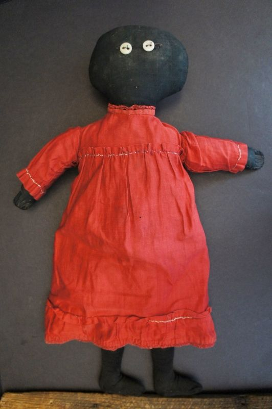 "19"" black cloth doll, her maker was a minimalist. C.1890-1900"