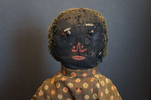 "20"" stockinette black doll great face from a collection in Maine 1870"