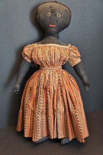 Early black cloth doll with great face and clothes 1870-80