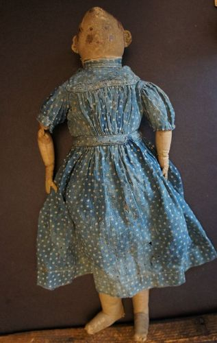 "17"" painted face antique cloth doll calcio dress rustic look"