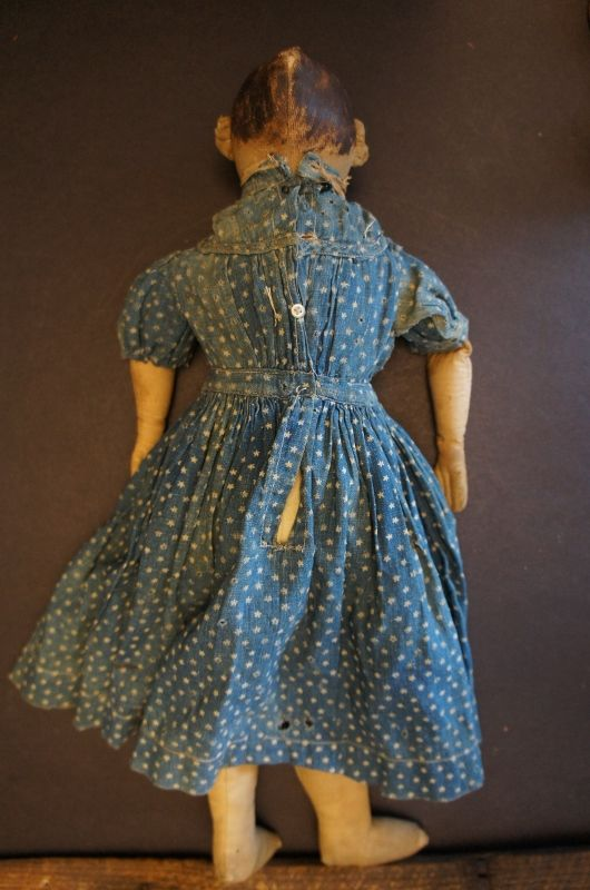 """17"""" painted face antique cloth doll calcio dress rustic look"""