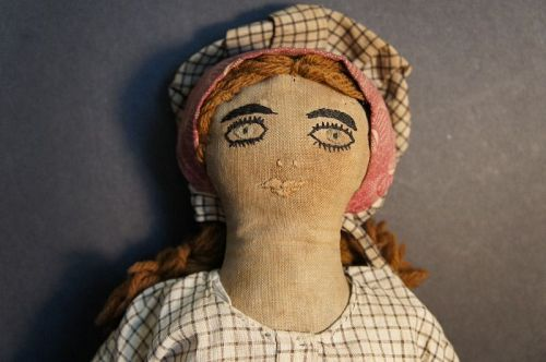 "Exquiste embroidered face 12"" antique cloth doll C 1890"