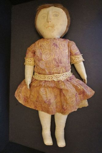"A very special doll 22"" with drawn face raised nose great hair C.1900"