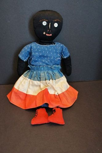 "16"" patriotic black doll with sweet little face C. 1890"