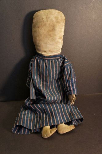 Big well loved primitive cloth doll a faint pencil face Jimmie Cramer