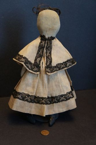"Small little whimsical gem of a pencil face doll  11"" tall  C. 1880"