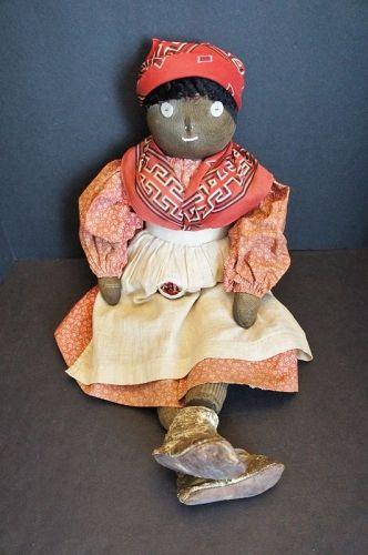 "Big bold black doll surprisingly heavy 24"" C. 1920"