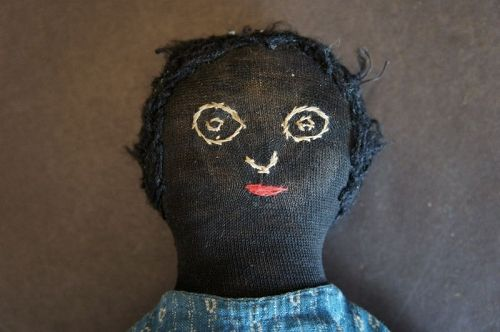 "14"" antique stockinette doll with a lovely embroidered face C. 1880-90"