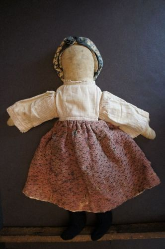 "Old time pencil face 16"" rag doll that looks just right. C.1880"