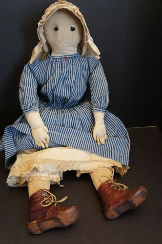 "26"" pencil face doll with shoe button eyes layers of clothes C1890"