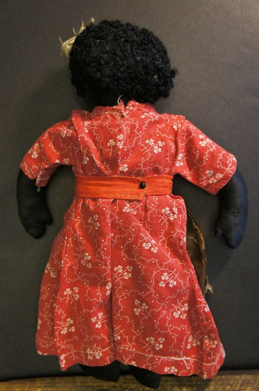 """19th C. Black cloth doll with an amazing face, astrakhan hair 13"""""""