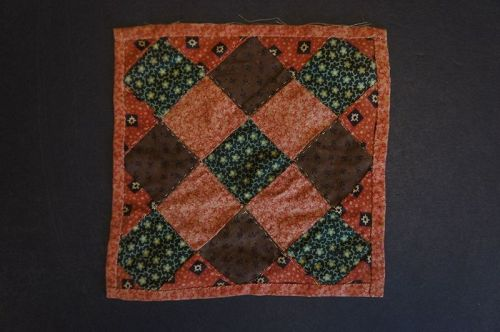 "6"" square antique doll quilt red and brown calico Circa 1880"