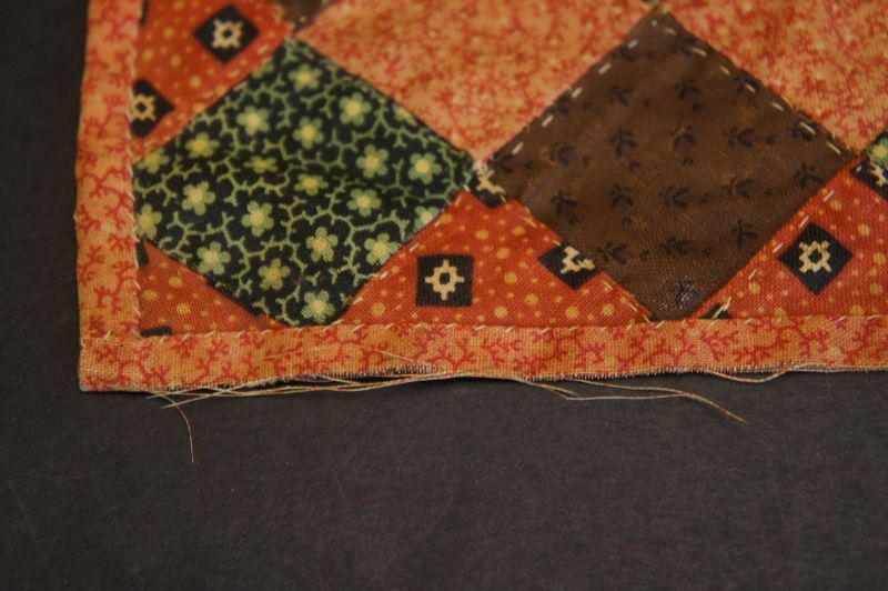 """6"""" square antique doll quilt red and brown calico Circa 1880"""